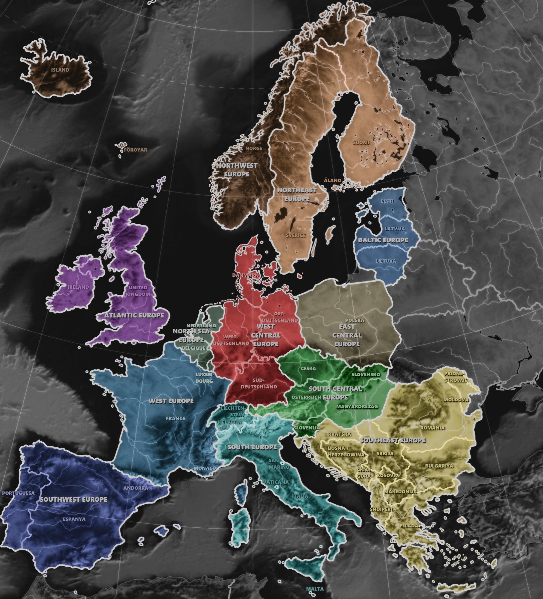 Neuordnung Europas, Europas Bundesstaaten, Gliederung Europas, Mitteleuropa, Zentraleuropa, West Zentraleuropa, west central europe, Europa, Neuordnung, Regionen, Bundesstaaten, Bundesländer, middle europe, central europe, europe, regions, deutsch dänische vereinigung